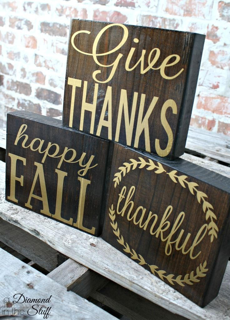Simple Fall Wood Blocks Created With My Silhouette Vinyl