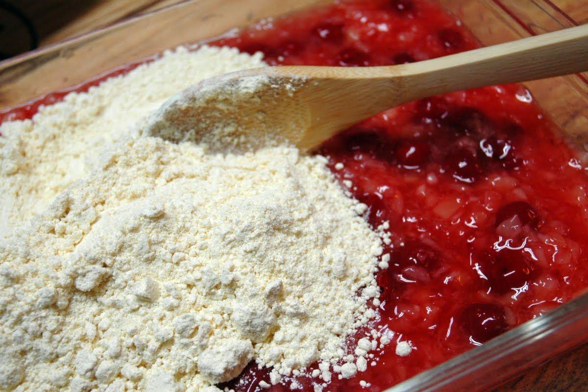 Cherry Dump Cake Made With Angel Food Cake Mix