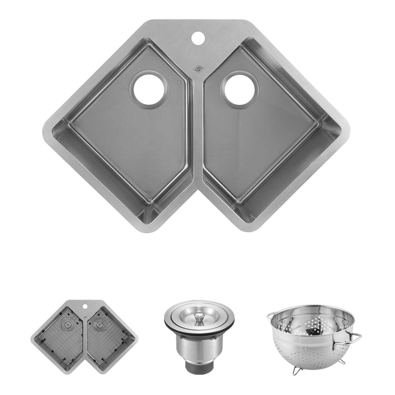 Dax Handmade Corner Double Bowl Undermount Kitchen Sink 16 Gauge Stainless Steel Br Double Bowl Undermount Kitchen Sink Undermount Kitchen Sinks Kitchen Sink