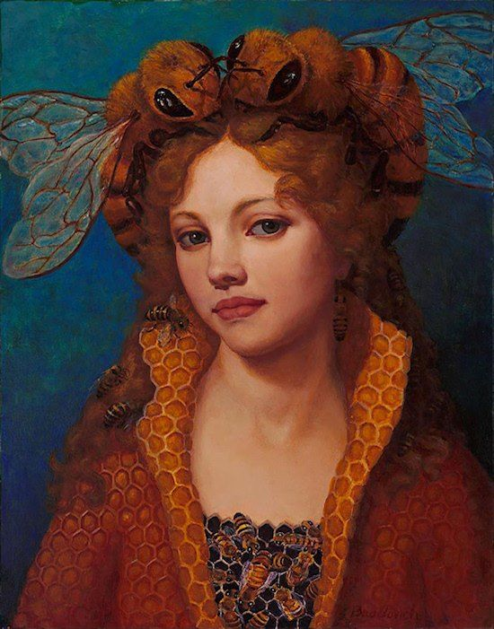Lea Bradovich - lovely painting, crazy bee-hat outfit