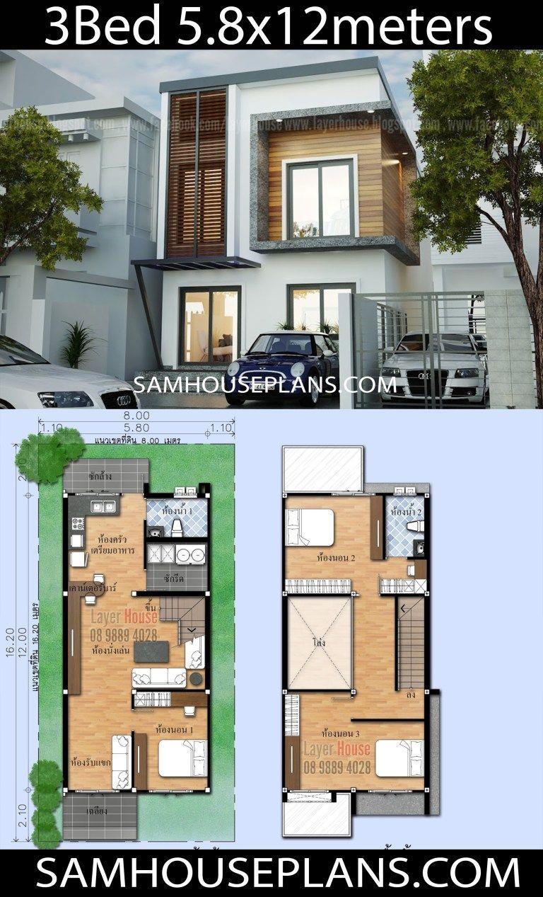 House Plans Idea 5 8x12m With 3 Bedrooms Sam House Plans Architectural House Plans Architectural Floor Plans House Architecture Design