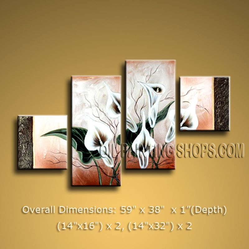 4 Pieces Contemporary Wall Art Floral Painting Lily Flower Artworks ...