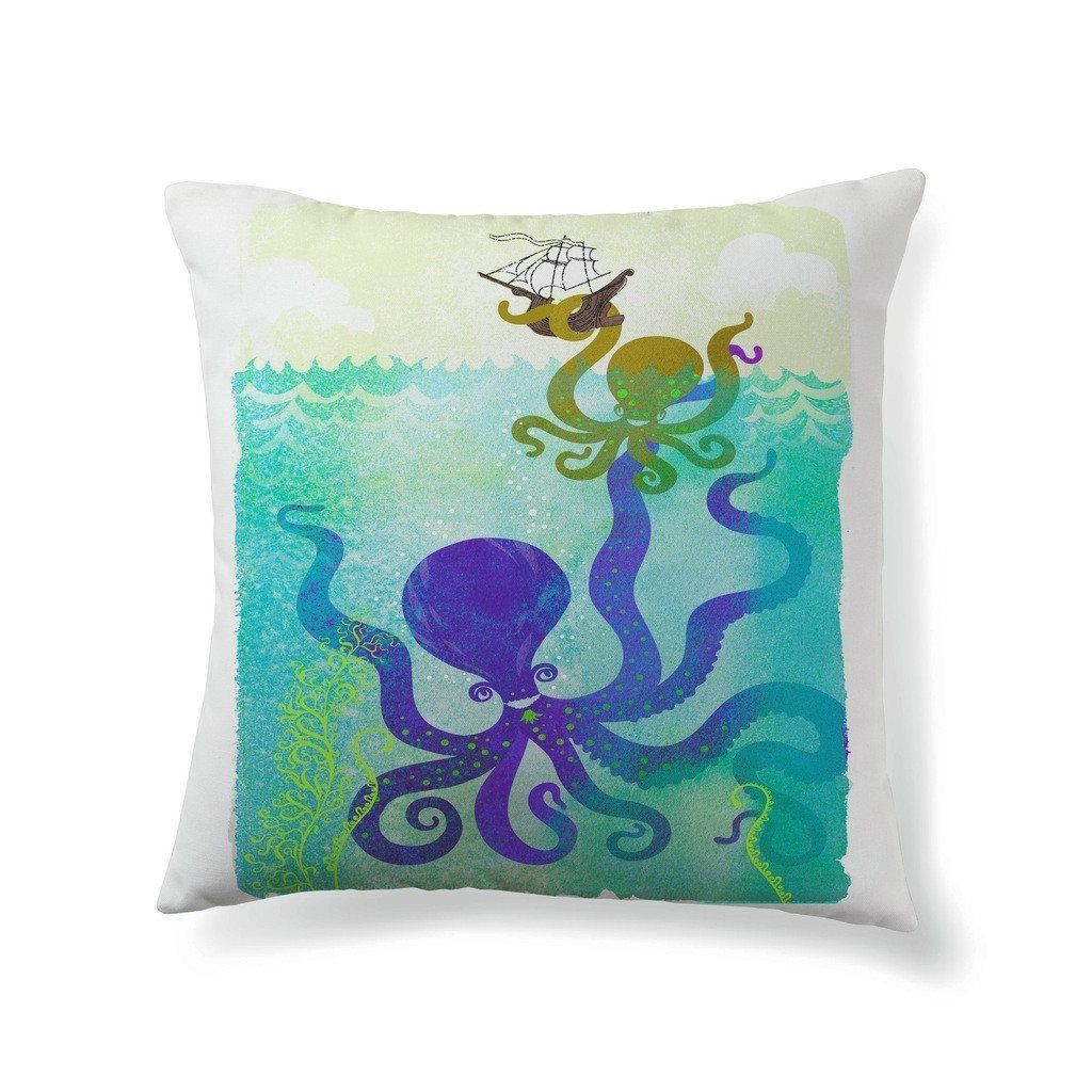 Octopus family taking hold of sailing ship