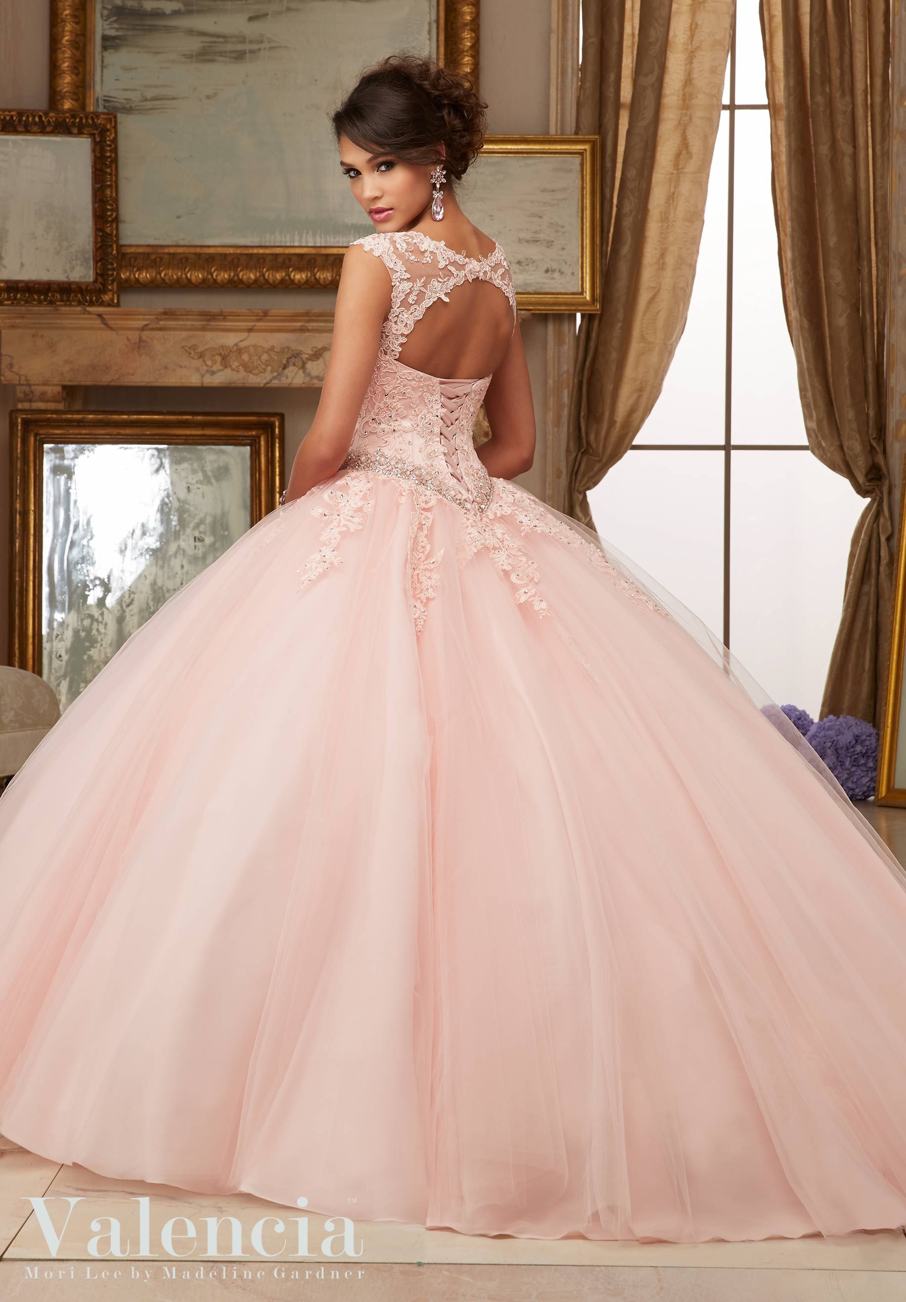 9dcfab570b Crystal Beaded Lace Appliques on Tulle Ball Gown Quinceanera Dress Designed  by Madeline Gardner. Matching Stole. Colors Available  Scarlet