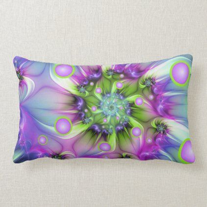 Colorful Spiral Round Shapes Abstract Fractal Art Lumbar Pillow