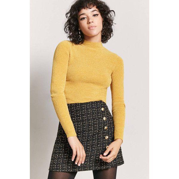 0e9f25ef7c Forever21 Metallic Tweed Mini Skirt ($18) ❤ liked on Polyvore featuring  skirts, mini skirts, button front a line skirt, button front mini skirt, ...