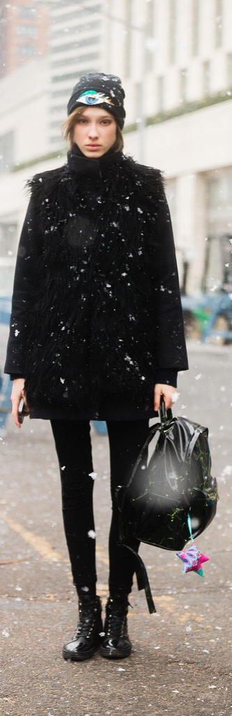 A model moment in the snow at NYFW.