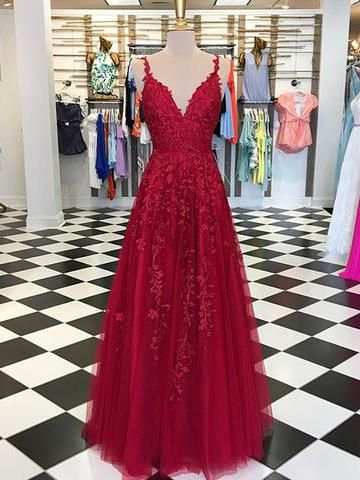 88eee296fcce Chic A-line Prom Dress Spaghetti Straps Applique Red Prom Dresses Evening  Dress AMY2024