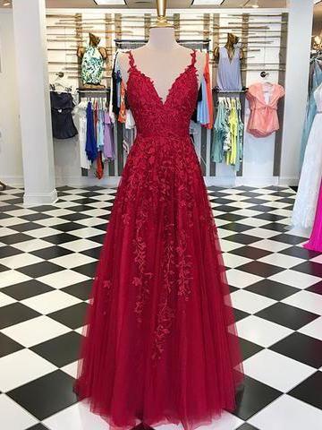 c8ead3e9f47e Chic A-line Prom Dress Spaghetti Straps Applique Red Prom Dresses Evening  Dress AMY2024