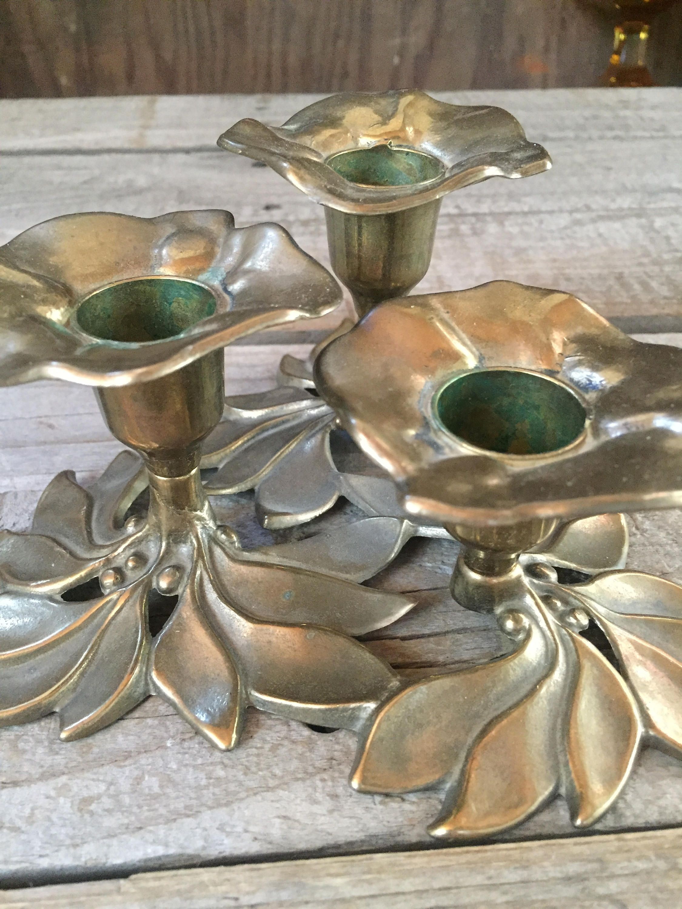 Lovely vintage brass trio of floral candle holders floral ... on Antique Style Candle Holder Sconces id=72784