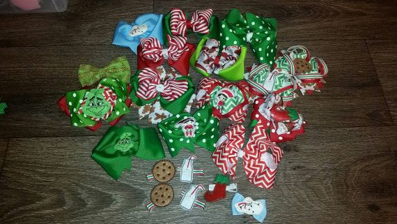 Buy all your Christmas bows in one sitting! Huge Lot of 21 bows. Clippies to Multi Layered Barrettes. ClOSEOUT PRICE!  https://www.etsy.com/listing/479712999/huge-hair-bow-lot-for-christmas-and