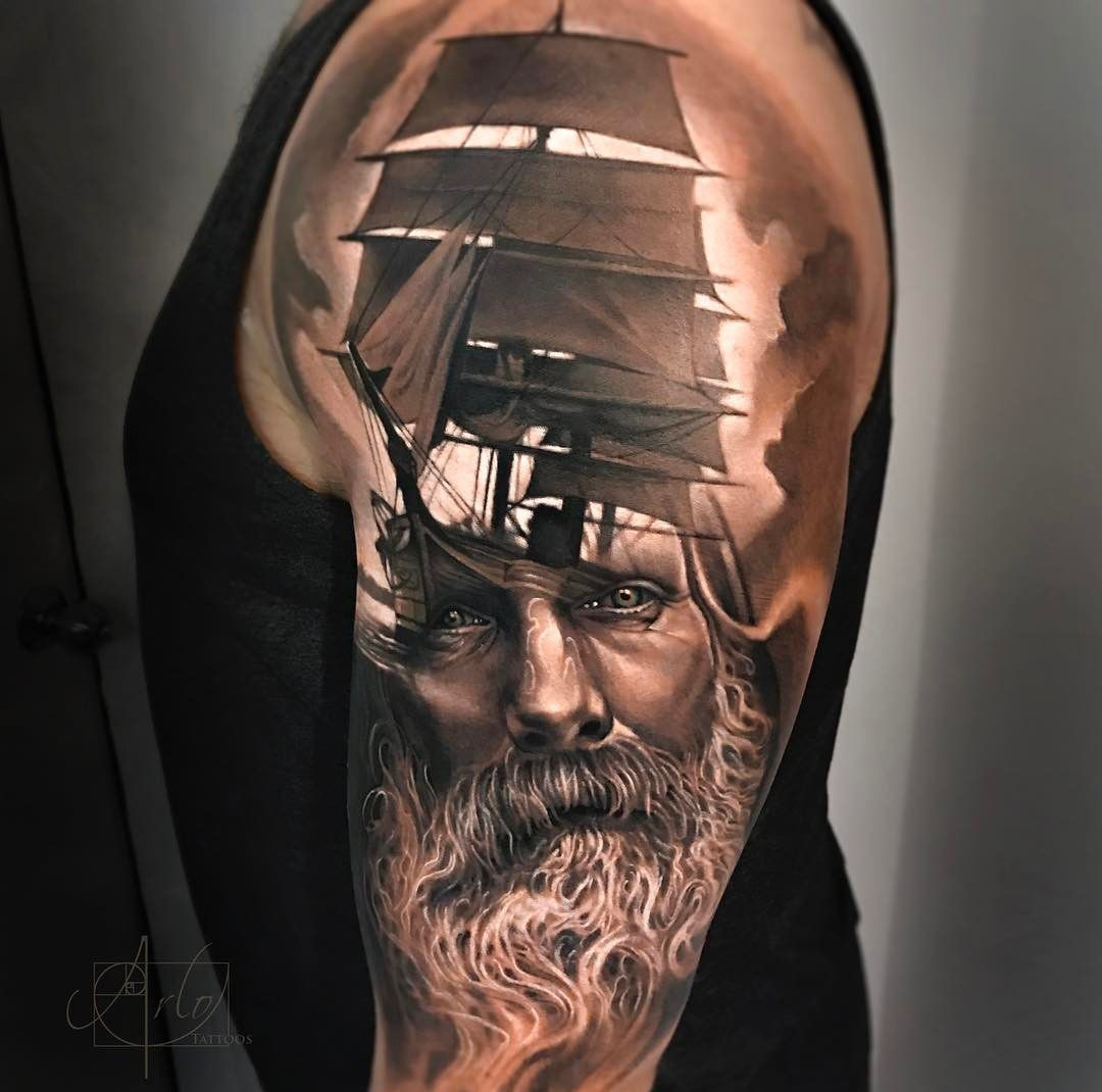 Realism half sleeves with sailing ship and bearded sailor. Tattoo by Arlo D ... -  Realism half sleeves with sailing ship and bearded sailor. Tattoo by Arlo DiCristina, is an artist  - #Arlo #bearded #HalfSleeveTattoos #IrezumiTattoos #MaoriTattoos #Realism #sailing #sailor #ship #sleeves #Tattoo #TribalTattoos