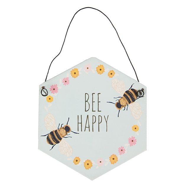 https://www.sassandbelle.co.uk/Bee Happy Hexagonal Plaque