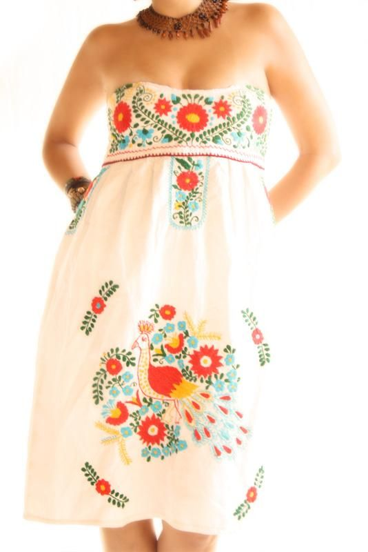 Birds y Nubes Strapless Mexican embroidered boho hippie dress