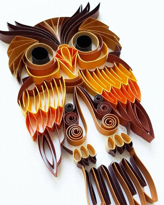 Quilled paper art colourful owl handmade artwork for Decoration quilling