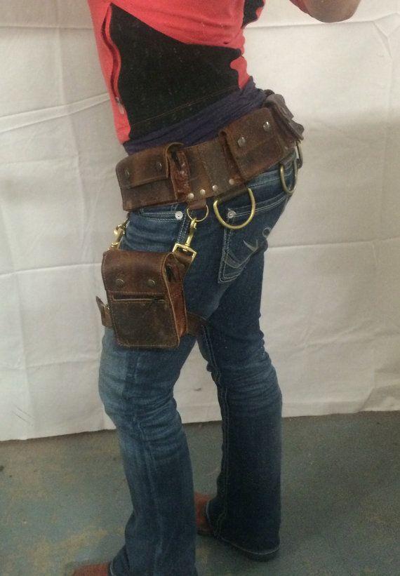 BOUDICCA pocket belt with detachable leg holster: Burning Man festival apocalyptic pouch leather warrior Mad Max men women handmade CUSTOM