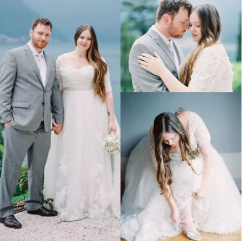 Plus Size Lace country Wedding Dresses With Half Sleeves A-Line ...