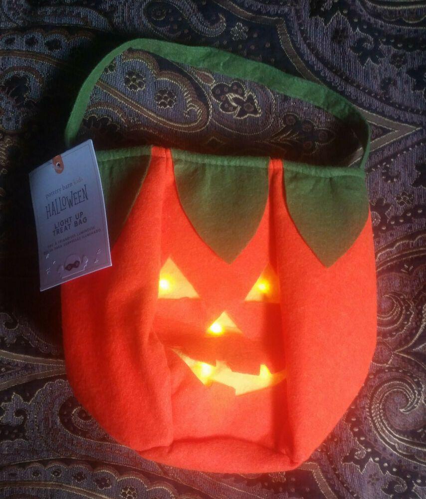 Pottery Barn Kids Light Up Pumpkin Halloween Treat Bag NEW