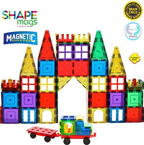 Magnetic Stick N Stack 120 Piece Classic Plus Set With 2 Wheel Bases Magnetic Toys Magnetic Tiles Building Blocks