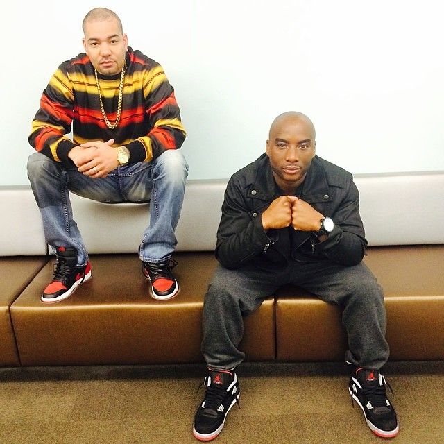 2208b78e97a0 DJ Envy wearing Air Jordan 1 I Black Red  Charlamagne Tha God wearing Air  Jordan 4 Retro Black Red