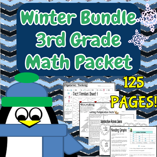Third Grade Winter Bundle of Math Review Printables   Common cores ...