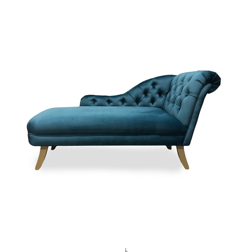 Velvet Chaise Longue With Gold Splayed Legs Chaise Chair And Ottoman Bespoke Seating