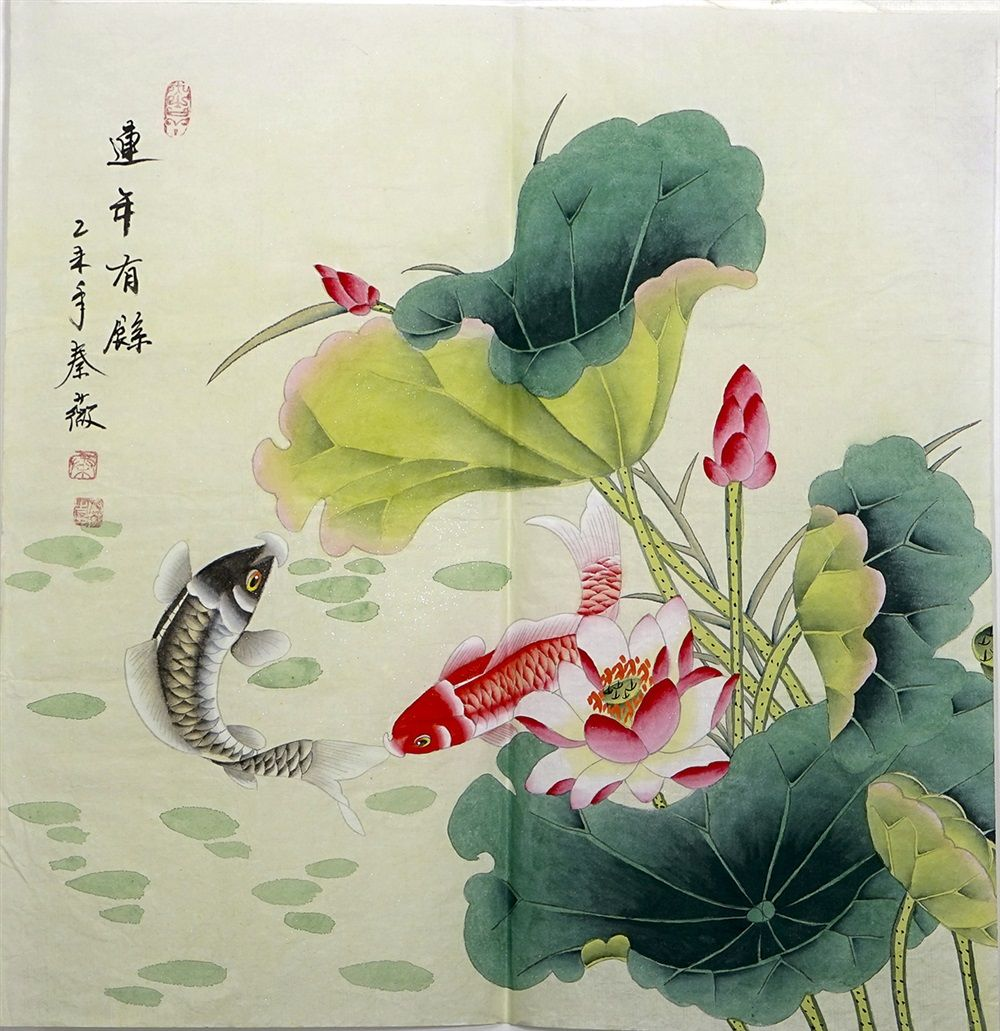 Original painting fish xuan paper hand classic best lotus flower original painting fish xuan paper hand classic best lotus flower painting us 4800 izmirmasajfo