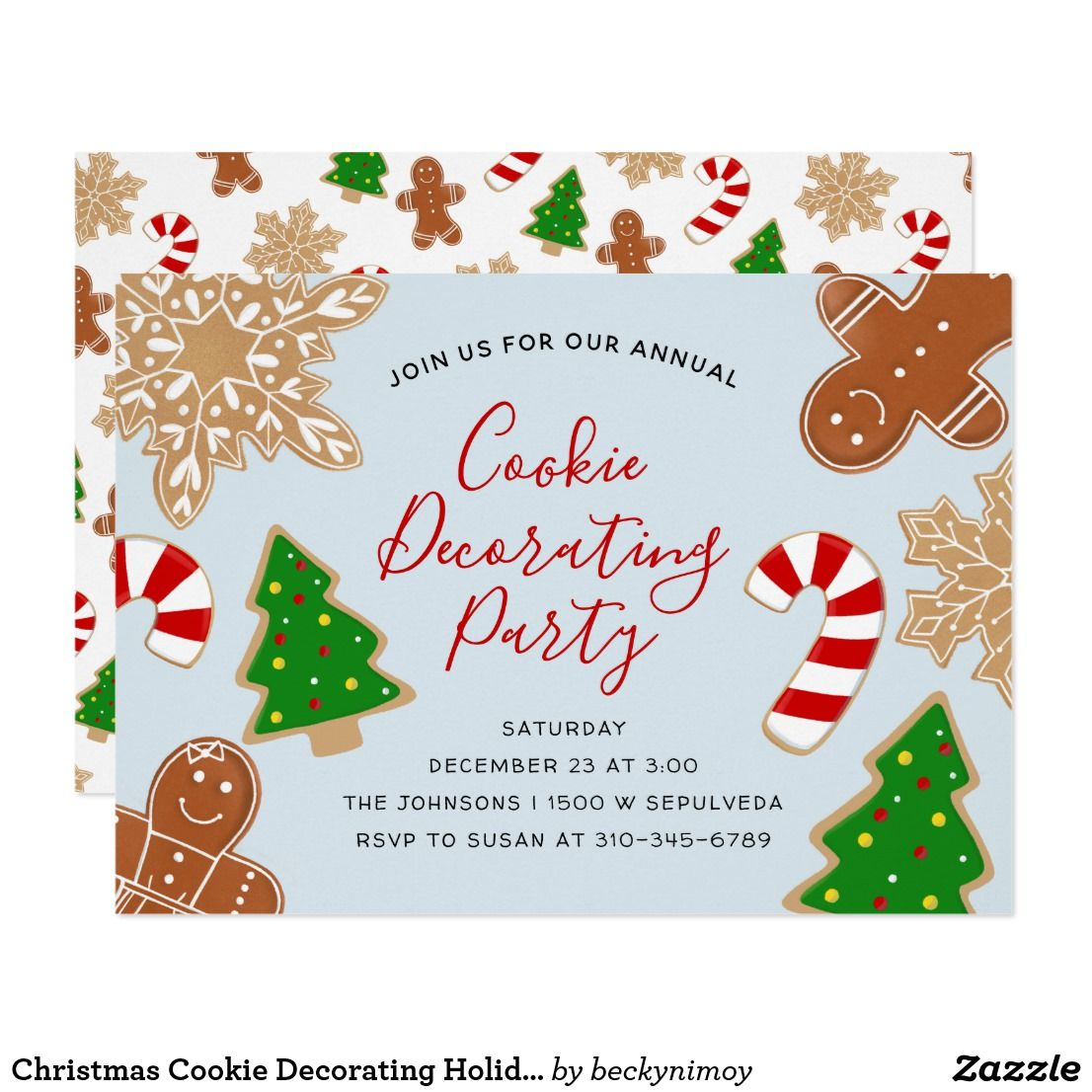 Christmas cookie decorating holiday party card festive cookie christmas cookie decorating holiday party card festive cookie illustrations with editable text including title to m4hsunfo