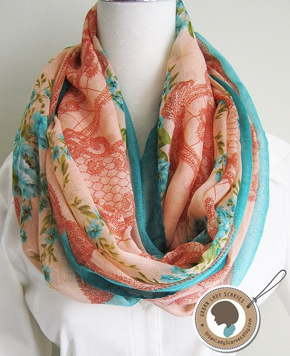 Flowers and bow, blue and peach, Soft, Lightweight, Long, Rectangle, Loop Scarf, Infinity Scarf for Spring and Fall