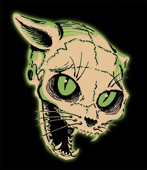 Vintage Halloween Cat Skeleton Die Cut Decoration