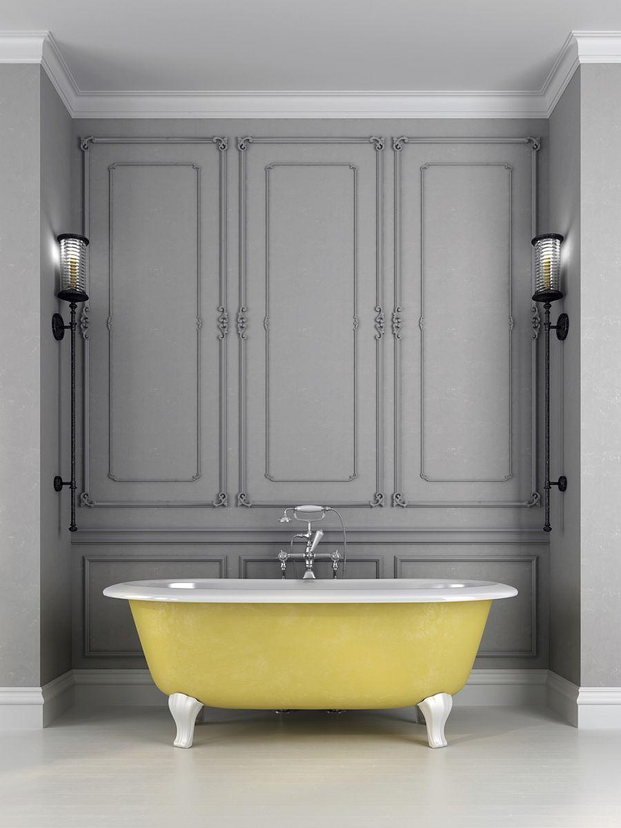 Stylowa Szara łazienka Z żółtą Wanną I Drewnianą Okładziną