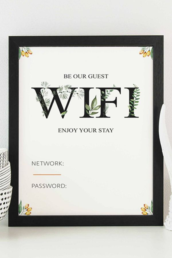 Room Design Layout Templates: Botanical Watercolor Wifi Password Printable Template For