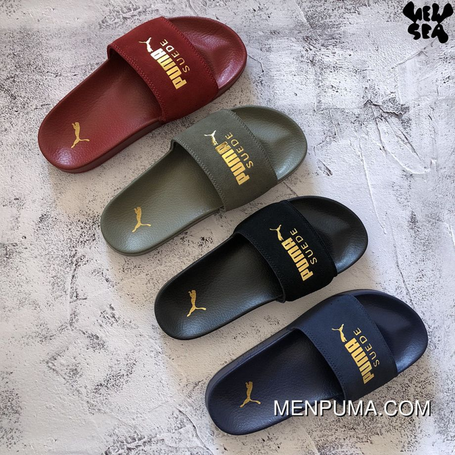 Puma Leadcat Suede Slides Olive Green Sport Beach Women Men ...