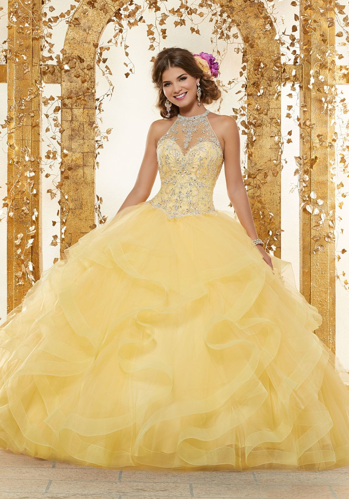 371c2711bd Rhinestone and Crystal Beading on a Flounced Tulle Ballgown ...