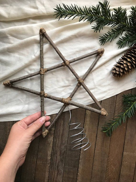 Photo of MEDIUM 11 inch Christmas Tree Star Natural Wood and Twine / Christmas Tree Topper Sticks Branches Primitive Eco Friendly Woodland Decor