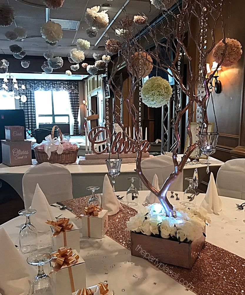 Rose Gold Sweet 16 Sweet 16 Centerpieces Sweet 16 Decorations Sweet 16 Parties