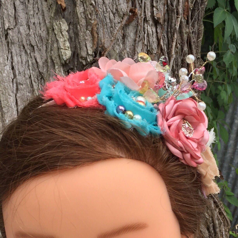 Mermaid Flower Headband Mermaid Headband Baby Girl Headband Newborn Headband Aqua Coral Mermaid Headband Mermaid Shabby Headband