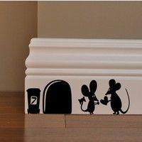 1pc Black Cartoon Mouse Love Heart Vinyl Art Wall Sticker Home Wall Skirting Board Decal With Images Funny Wall Decal Animal Wall Decals Sticker Wall Art