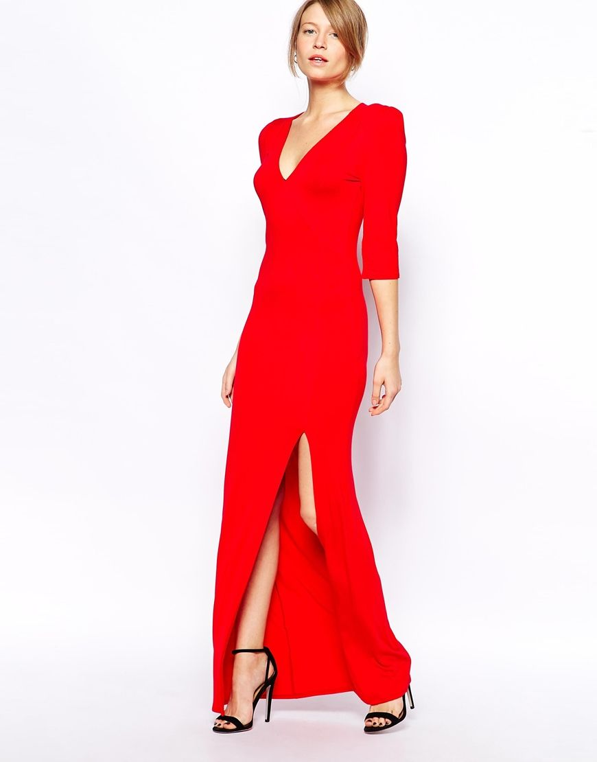 Love jersey maxi dress with plunge neck and thigh split a day at