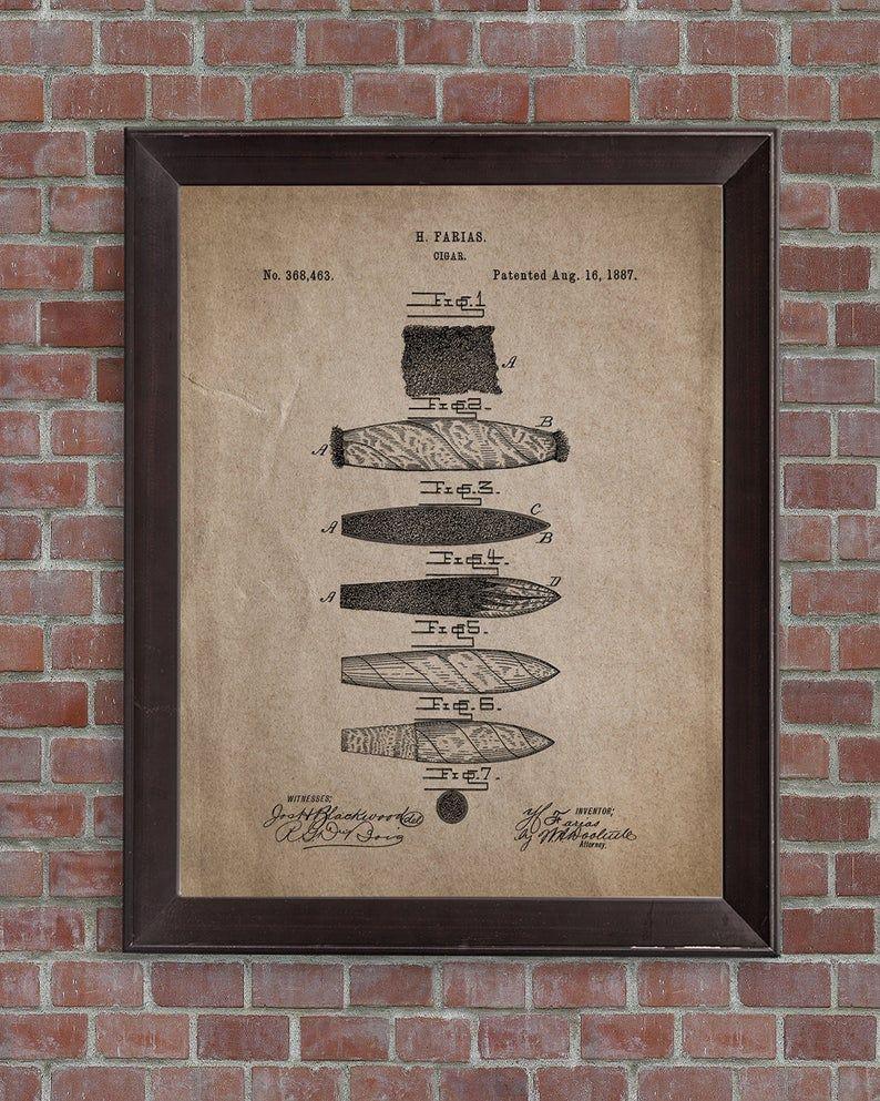 Cigar Patent Print Set Of 3 Cigar Wall Art Cigar Cutter Etsy Patent Prints Print Sets Wall Art
