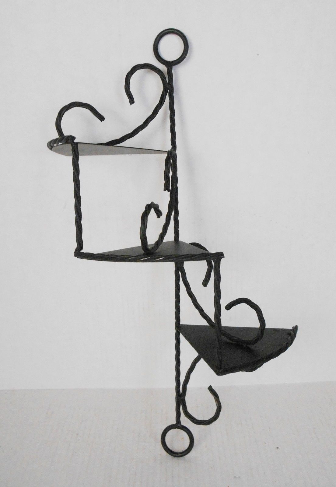 Vintage twisted wrought iron spiral staircase black wall shelf vintage twisted wrought iron spiral staircase black wall shelf ebay amipublicfo Choice Image