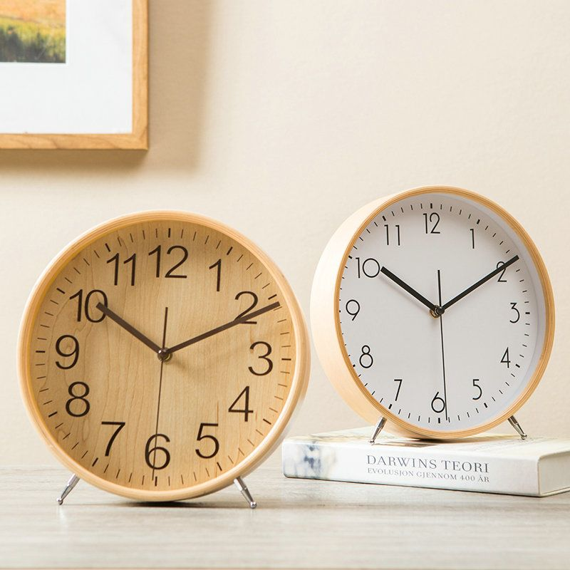 Wooden Mute Alarm Clock Modern Simple Table Clock A/B/C/D