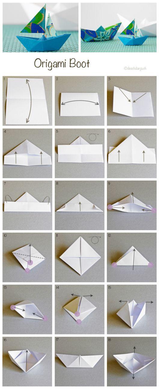 ✽ Cómo hacer barquitos de papel | Tarjetas Imprimibles | Origami ...