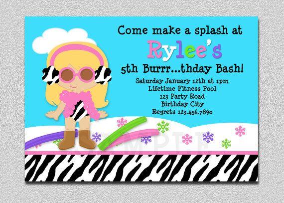Winter Pool Party Birthday Invitation Winter by TheTrendyButterfly - birthday invitation pool party