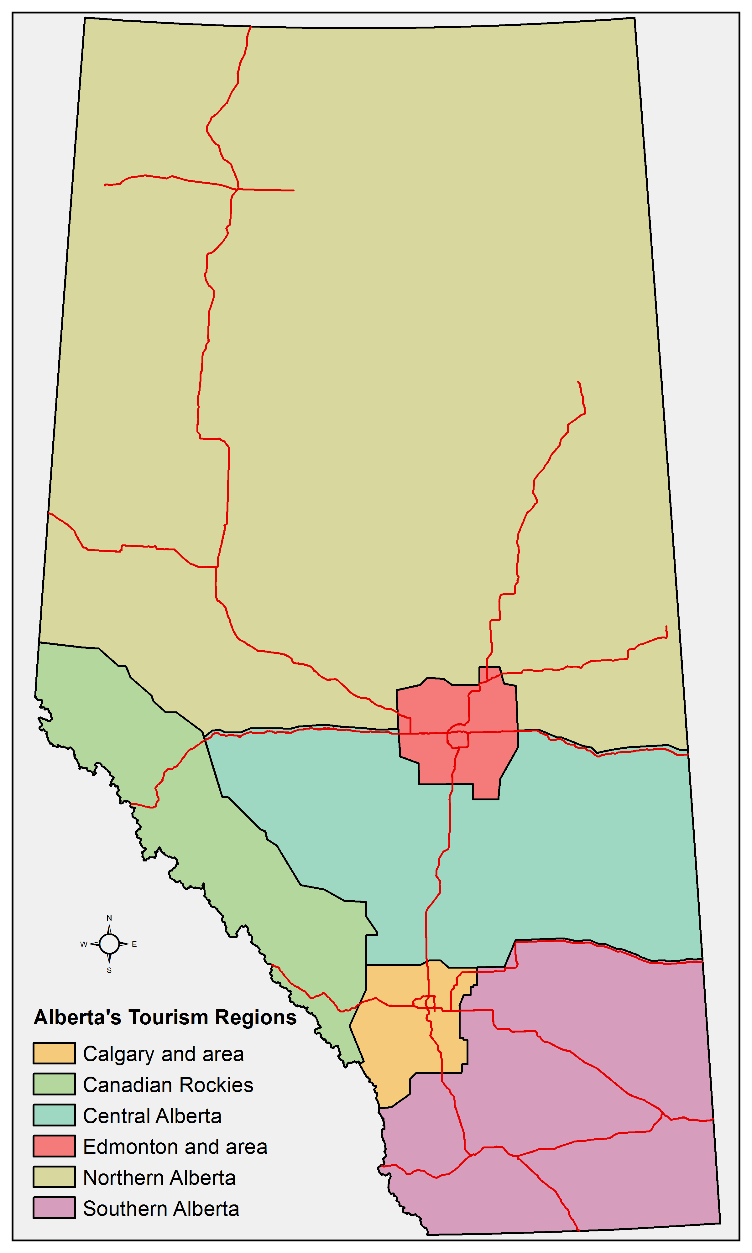 Alberta's tourism regions and highways that form part of