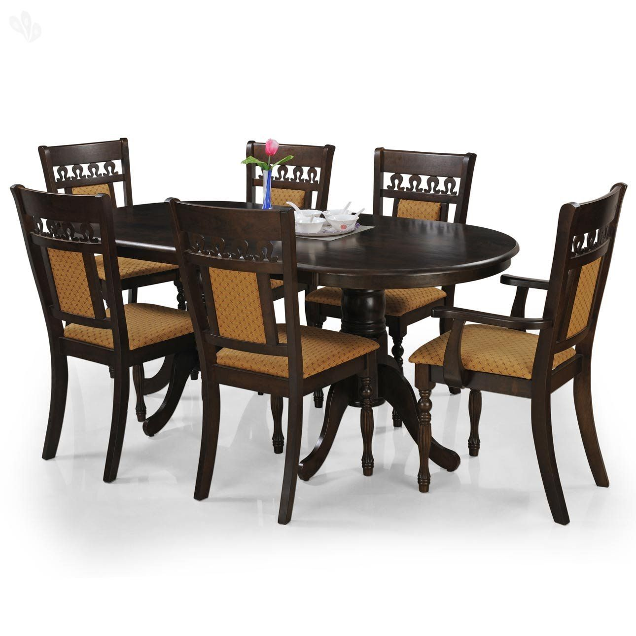 Royal Oak Angel Six Seater Dining Table Set Brown Dining Table