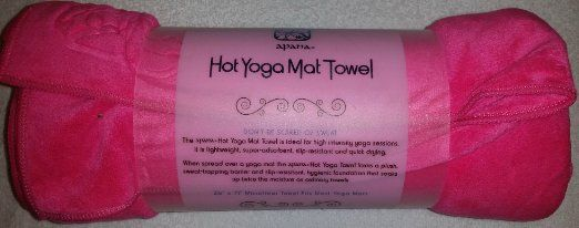 This Apana Skidless Hot Pink Yoga Towel will stop you slipping and sliding around. Made from an Extra-thick and super-absorbent microfiber blend. It has a luxurious suede like feel.