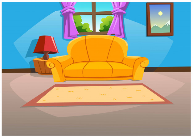 Living Room In The House In Bright Colors In The Daytime Cartoon House Animal Art Projects House Doodle