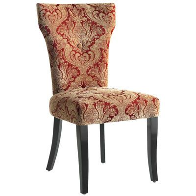 A slim profile loaded with details that include thick, comfortable padding, a gold-and-red striped back, damask front with covered button accent and gently curved birch legs. Who knew that even chairs can never be too thin or too rich?