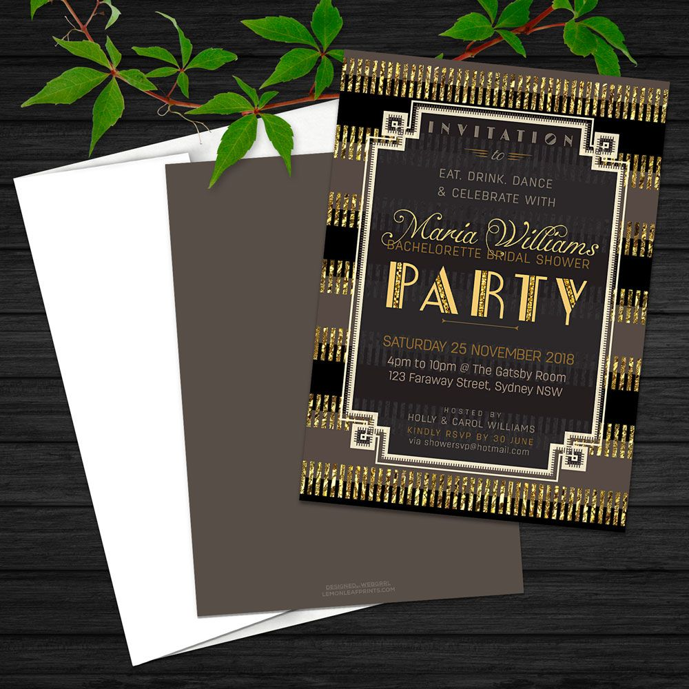 stylish gatsby bridal shower invitation black and gold glitter art deco by webgrrl lemonleafprints artdeco glam bridalshower